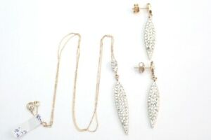 Spike Pendant Earring set Cubic Zirconia 9ct Gold -18 inch Chain