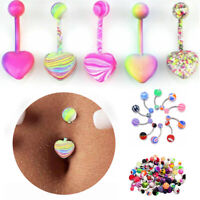 5/85/105PCS Belly Button Navel Rings Mixed Color Stainless Barbell Body Piercing