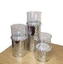 Set of 3 Silver Beaded Tealight Holders Table Decor Gift Set