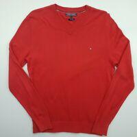 Tommy Hilfiger Mens  Pullover LARGE  Red Cotton Linen Sweater Jumper Knit V-Neck