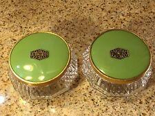 Powder Jars (2) Vtg Pressed Glass With Brass Inset Design on Green