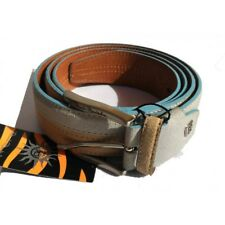 Cintura bicolore Renato Balestra 125cm Beige/Cielo - vera pelle - Made in Italy