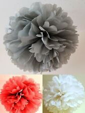 9 x silver white red tissue paper pompoms  christmas hanging  party decorations