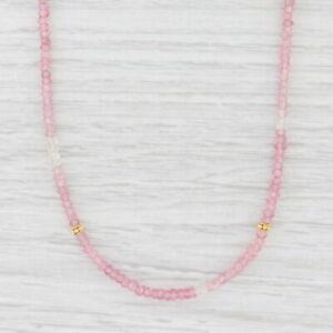 New Nina Nguyen Long Harmony Necklace Pink Topaz Bead Gold Vermeil Sterling