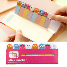 120 Pages Owl Sticker Post It Bookmark Point Marker Memo Notepad Sticky Notes US