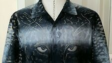 New RARE Crochet See-Through Shadow Cheetah Tiger S/S Mesh Shirt Men L
