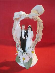 Vintage fancy Wedding Cake Topper, Bride and Groom, all original 1930s 1940s era
