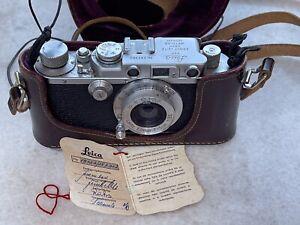 Leica III factory converted with flash sync Original Hangtag w/ Leitz 5cm Elmar