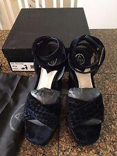 Ash Boom Velvet Women's Platform Sandals Midnight Navy Croco Size 6