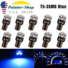 10Pcs Ultra Blue T5 3-SMD Dashboard Dash Gauge Instrument Panel LED Light Bulbs