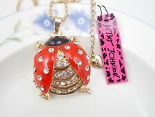 Betsey Johnson fashion jewelry Crystal red ladybug pendant necklace # A072H