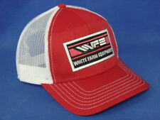 White Farm Equipment Tractor Hat - Red White Mesh