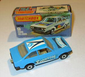 Matchbox Lesney Superfast mb9 Ford Escort RS2000 BLUE Phantom RARE Grey Base