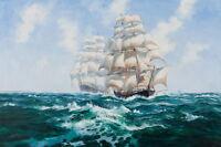 Wall Art Giclee Print Sailing Ship Sea Oil painting Printed on canvas P740