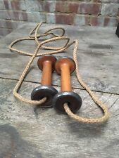 Antique Wilkinson Ltd Heysham Skipping Rope Wooden/Metal Cotton Reel Handles Old