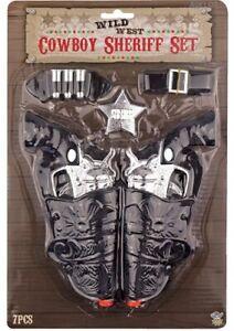KIDS ADULTS COWBOY COWGIRL GUNS PISTOLS & HOLSTER FANCY DRESS TOY SET B52 767