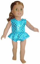 Doll Clothes fits American Girl Teal Mermaid Scales Swimsuit Bathing Suit