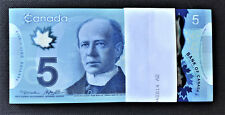 Canada 2013 Polymer $5 PACK 100 Pieces Pick-106b 'HCJ' Original UNCIRCULATED