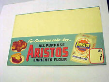 Vintage ARISTOS Enriched flour shelf or counter sign  New Old Stock