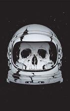 Enmarcado impresión cráneo esqueleto astronauta en el espacio casco (imagen Universo Galaxia