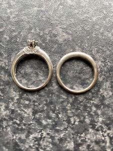 diamond engagement and wedding rings set. 18 Carat white gold. 0.32 Carat Stone