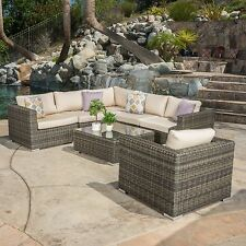 Contemporary Outdoor 7-piece Wicker Seating Sectional Set w/ Sunbrella Cushions