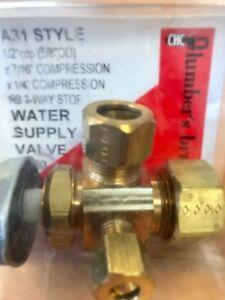 """Brass Water Supply Valve 1/2"""" Cop x 7/16"""" Comp. x 1/4 Comp. 3 Way Stop"""