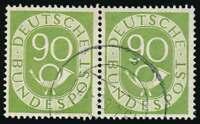 Bund Deutschland 1951 Posthorn Michel 138 90 Pfg. im waagerecht. Paar gestempelt