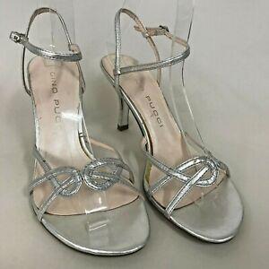 Ladies Vintage 90's Designer Gino Pucci High Heel Shoes - Size 5 AU Silver Strap