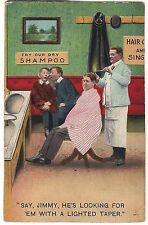 LOOKING LIGHTED TAPER Candle LICE Barber Humor Vintage Postcard 1910 Bamforth
