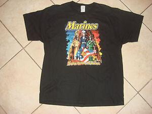 Neuf,Jamais Porté États-Unis Marine Corps Coton T-Shirt,Noir Color Avec Label :