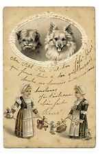 CHIENS DOGS.PETITE FILLE.GIRL.JOUETS.TOYS.MOUTONS