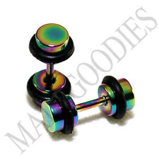 2115 Fake Cheater Illusion Faux Plugs 16G Steel 4G 5mm Rainbow Multi-Color Small