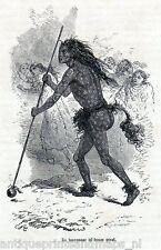 Antique print North Dakota / american indian Wizard Mandan Indians 1871