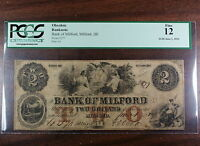 1854 $2 Bank of Milford DE, PCGS F-12, Obsolete Banknote