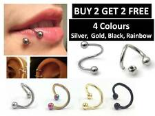 Twisted Helix Surgical Stainless Steel Nose Lip Ear Hoop Ring Horseshoe Style