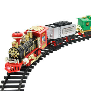 Battery Powered Steam Locomotive Engine Train Remote Control Train Gift for Kids