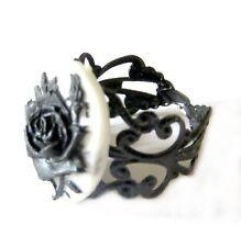Anello gotico nero cammeo 18x13mm rosa nera gothic retro black rose cameo ring