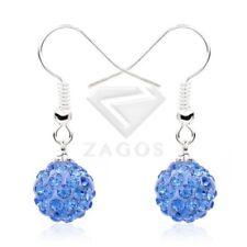 1 Pair 37 Color Rhinestone Crystal Disco Ball Bead 10mm Dangle Earrings