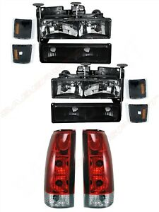 Combo Black Headlights + Red Taillights for 1994-1999 Chevrolet C/K Full Size