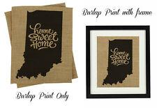 Darling Souvenir Home Sweet Home Burlap Indiana State Map Housewarming -DSBP168