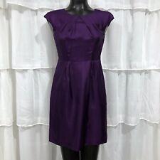 Banana Republic Dress Size 2P Petite 100% Silk Sheath Purple Black White Floral