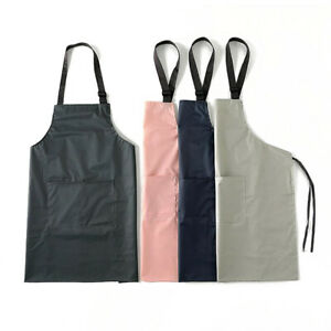 Waterproof and Oil-proof Kitchen Apron, Washable, Reusable, With 2 Pockets