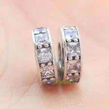 2pcs 925 Sterling Silver Eternity Clear CZ Crystal Spacers Charm Fit Bracelet