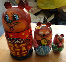 """Wood Russian Nesting Doll Bear and his family 3 Pcs 5.5 """" inches"""