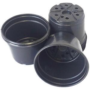 "5 inch Round Black Plastic Pots - SET OF 100 - (5"" x 3.6"")  flower pot Nursery"
