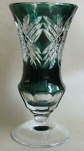 """VAL ST LAMBERT VINTAGE EMERALD GREEN CUT TO CLEAR 7¼"""" VASE (Ref6180)"""