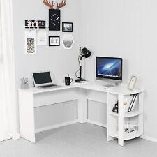 L-shaped Corner Computer Desk PC Table Workstation Home Office Furniture White