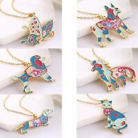 New Colorful Enamel Animal Dog Butterfly Pendant Necklace Women Jewellery Gift