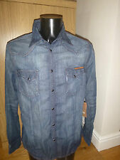 Brand New With Tags Men's True Religion Franco Slanted Dark Denim Shirt Large
